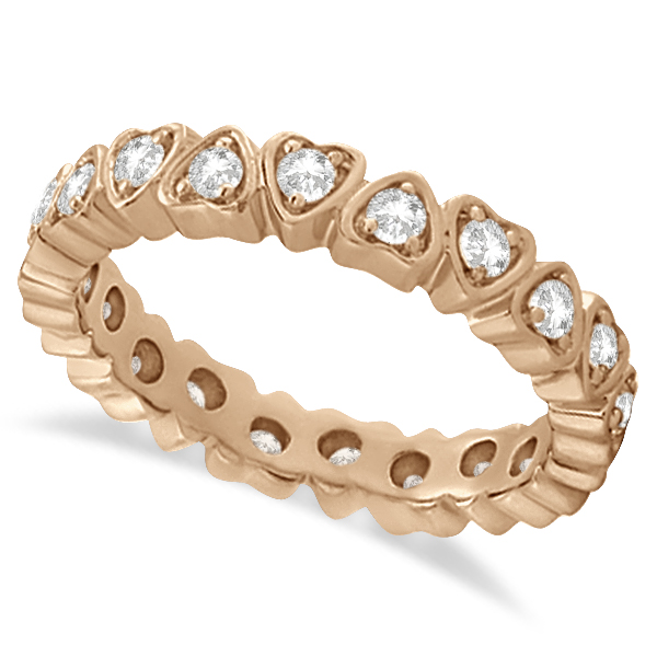 Pave Set Heart Shaped Diamond Eternity Ring 14k Rose Gold (0.60ct)
