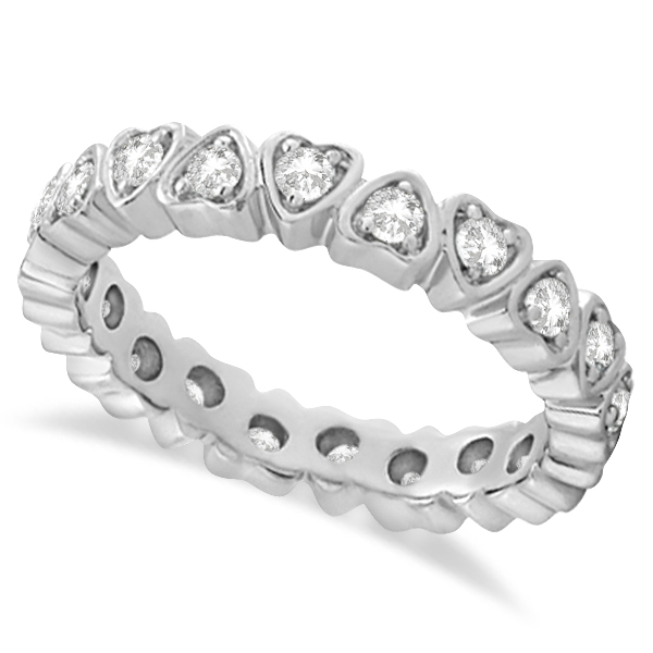 Pave Set Heart Shaped Diamond Eternity Ring 14k White Gold (0.60ct)