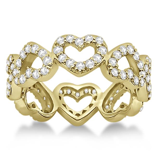 Eternity Interlocking Hearts Diamond Ring 14k Yellow Gold (1.00ct)