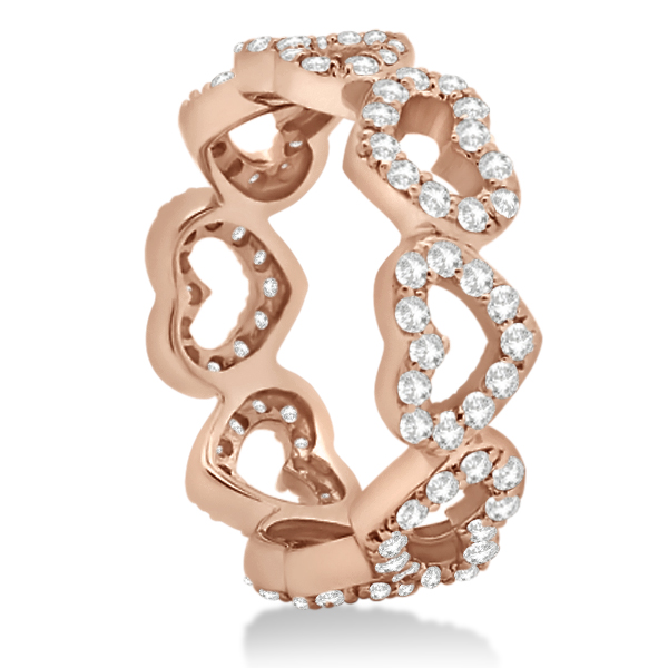 Eternity Interlocking Hearts Diamond Ring 18k Rose Gold (1.00ct)