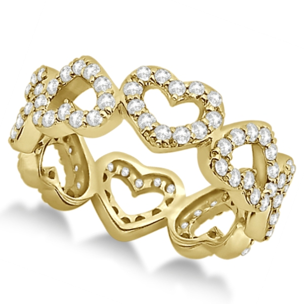 Eternity Interlocking Hearts Diamond Ring 18k Yellow (1.00ct)