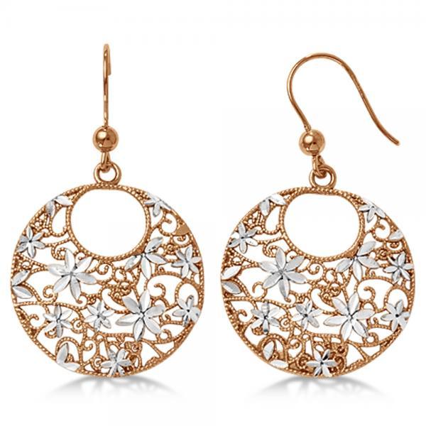 Flower Circle Dangling Drop Earrings in Rose Plated Sterling Silver