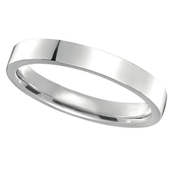 14k white gold wedding band plain ring flat comfort fit 3mm