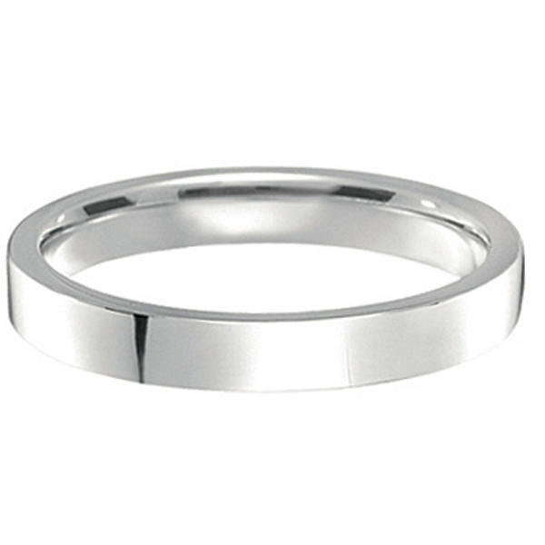 14k White Gold Wedding Band Plain Ring Flat Comfort Fit (3mm)