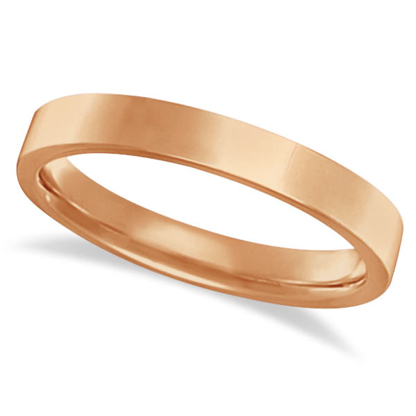 Flat Comfort Fit Plain Ring Wedding Band 18k Rose Gold (3mm)