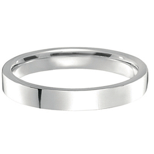 950 Platinum Plain Wedding Band Flat Comfort Fit (3mm)