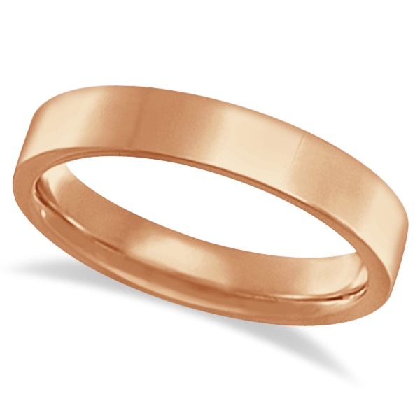 Flat Comfort-Fit Plain Ring Wedding Band 14k Rose Gold (4mm)