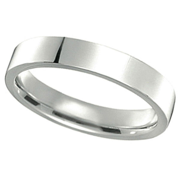 14k White Gold Wedding Band Plain Ring Flat Comfort-Fit (4 mm)