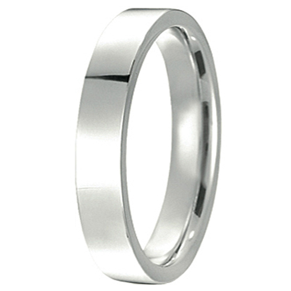 14k White Gold Wedding Band Plain Ring Flat Comfort-Fit (4 mm)