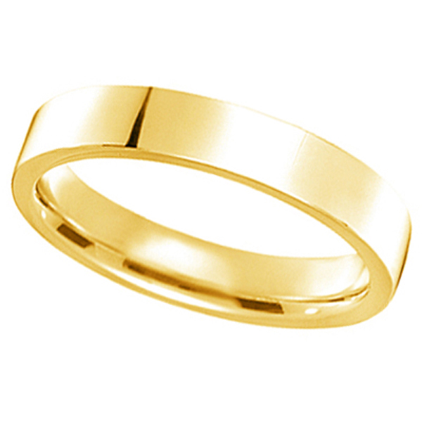 14k Yellow Gold Plain Wedding Band Flat Comfort-Fit Plain Ring (4 mm)