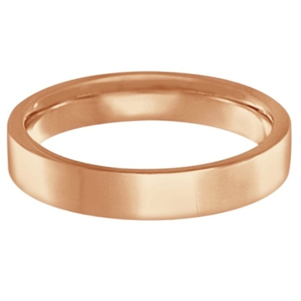 Flat Comfort-Fit Plain Ring Wedding Band 18k Rose Gold (4mm)