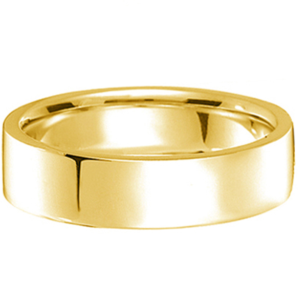 14k Yellow Gold Plain Wedding Band Flat Comfort-Fit Plain Ring (5 mm)