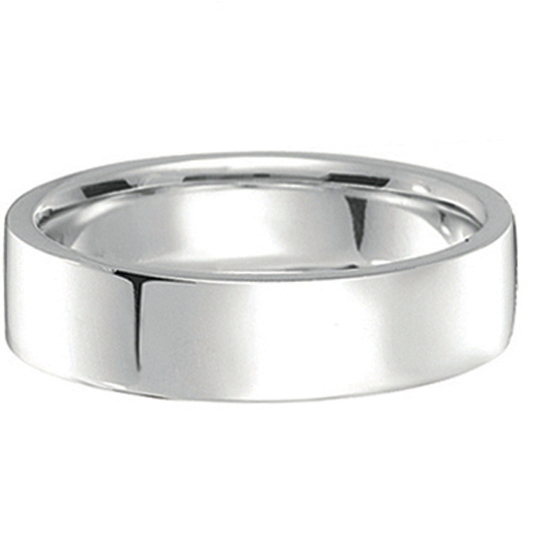 950 Palladium Wedding Band Plain Ring Flat Comfort-Fit for Men (5 mm)