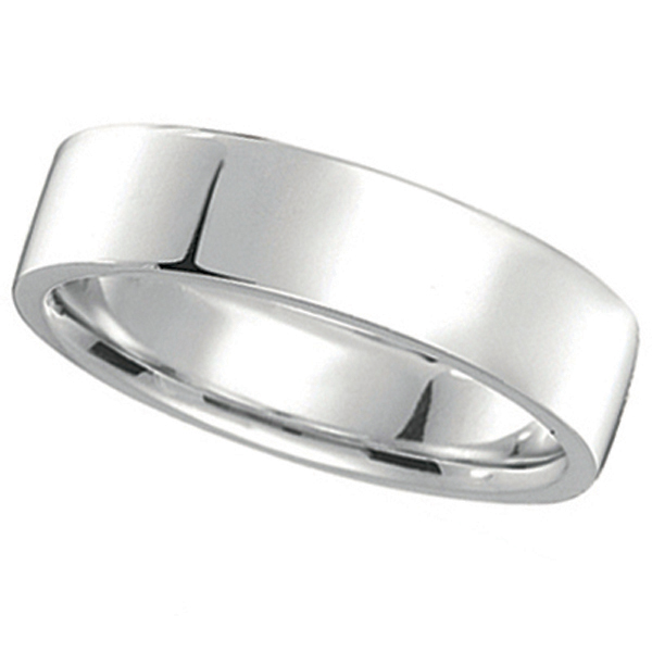 950 Platinum Plain Wedding Band Flat Comfort-Fit (5 mm)