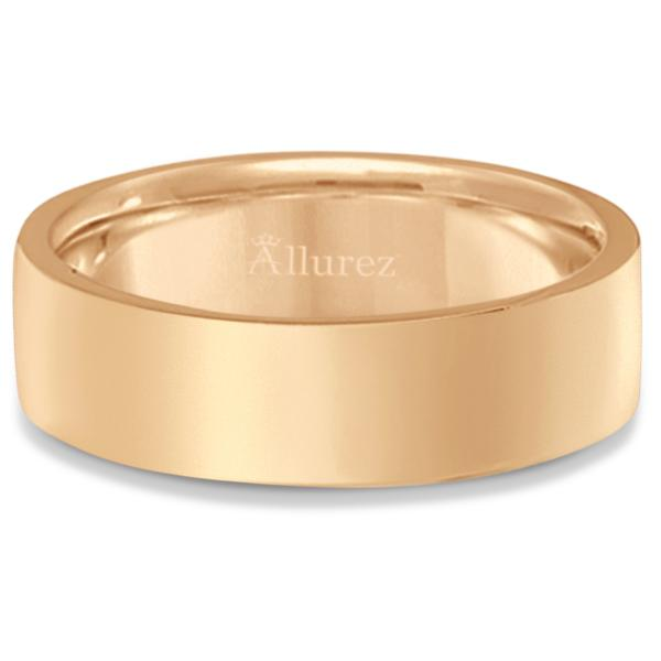 Flat Comfort Fit Plain Ring Wedding Band 14k Rose Gold (6mm)