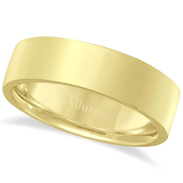 14k Yellow Gold Plain Wedding Band Flat Comfort-Fit Plain Ring (6 mm)