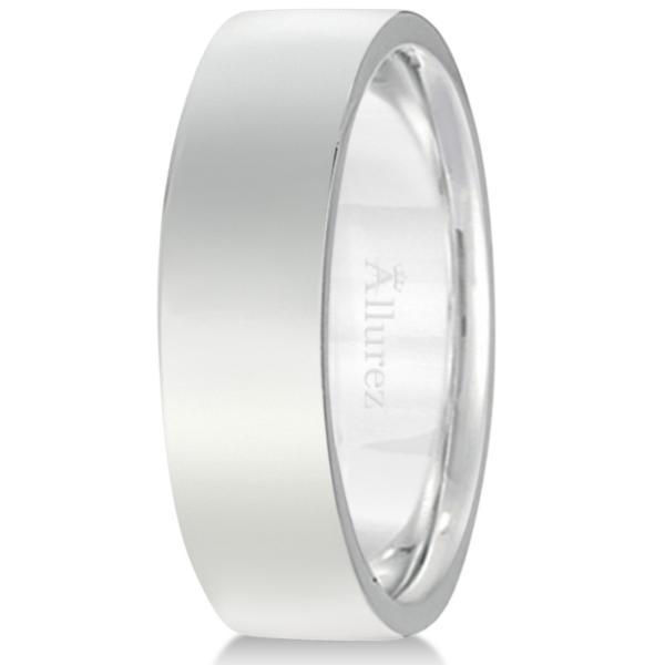 18k White Gold Wedding Band Flat Comfort-Fit Ring (6 mm)