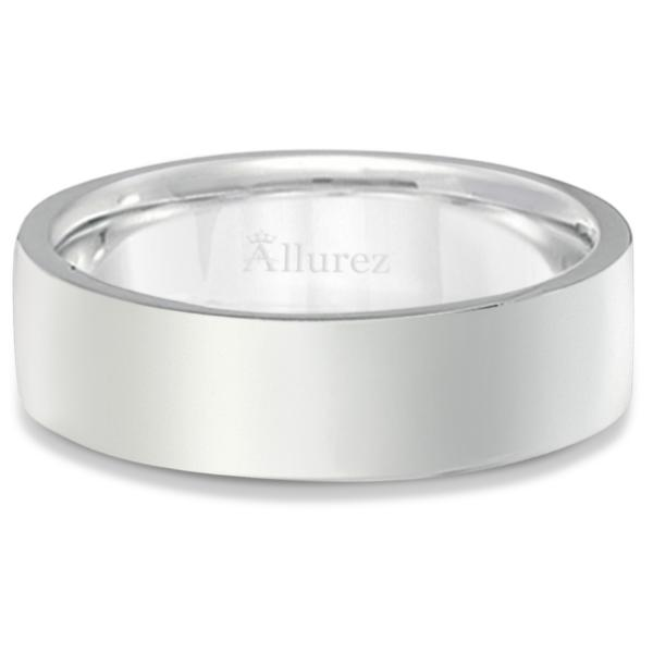 950 Platinum Plain Wedding Band Flat Comfort-Fit Ring (6 mm)