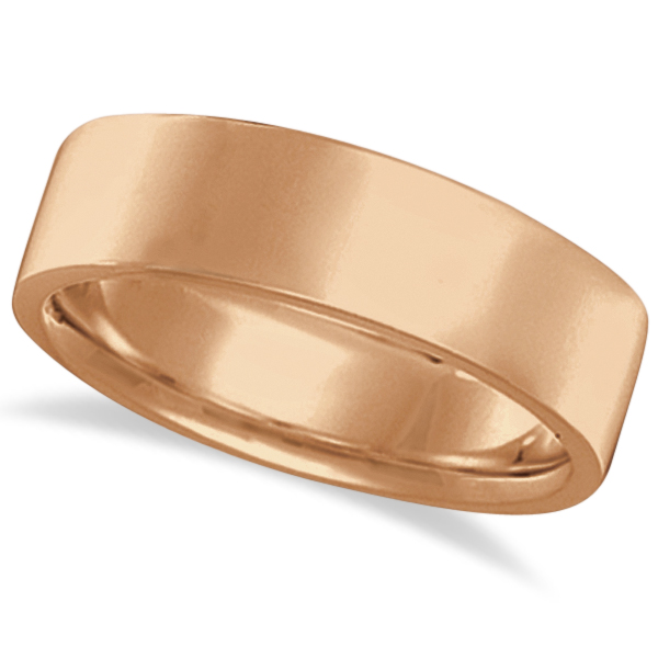 Flat Comfort Fit Plain Ring Wedding Band 14k Rose Gold (7mm)