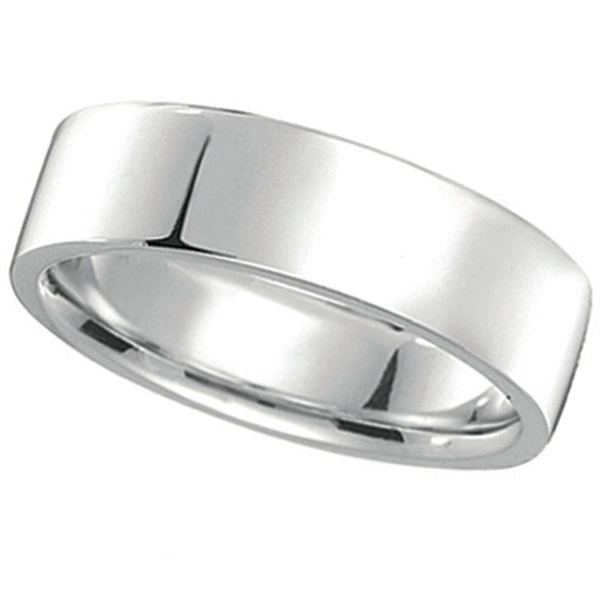 14k White Gold Wedding Band Plain Ring Flat Comfort Fit 7 Mm
