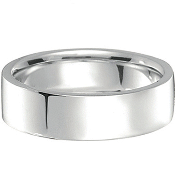 14k White Gold Wedding Band Plain Ring Flat Comfort-Fit (7 mm)