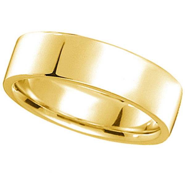 14k Yellow Gold Plain Wedding Band Flat Comfort-Fit Plain Ring (7 mm)