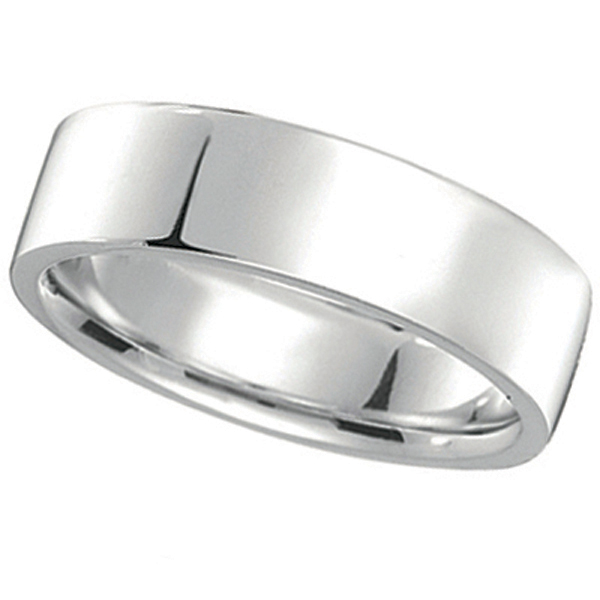 18k White Gold Wedding Band Flat Comfort-Fit Ring (7 mm)