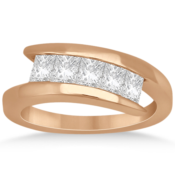 Five Stone Princess Diamond Ring Tension Set 14k Rose Gold (0.50ct)