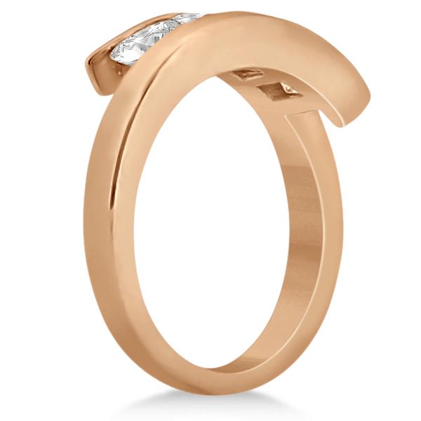 Five Stone Princess Diamond Ring Tension Set 18k Rose Gold (0.50ct)