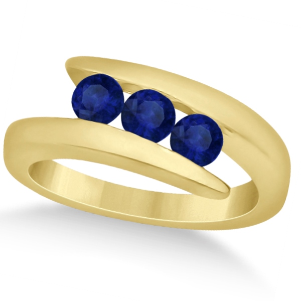 Blue Sapphire 3 Stone Journey Ring Tension Set 14K Yellow Gold 0.90ctw