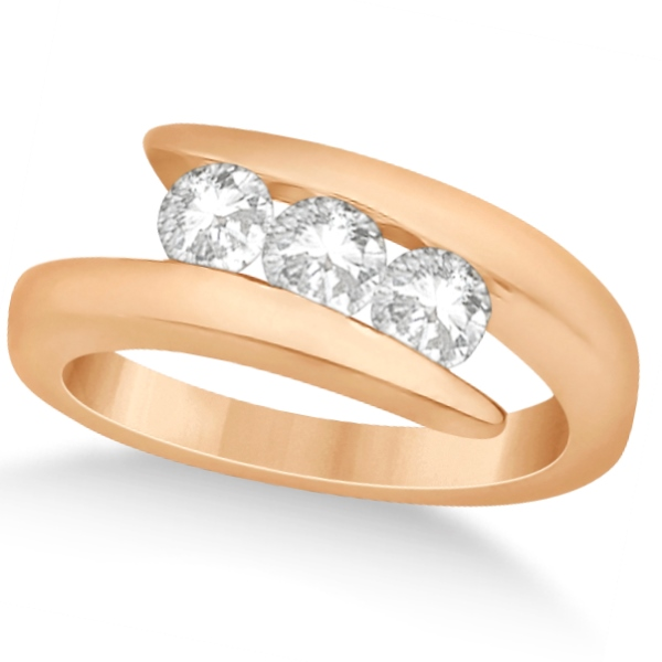Three Stone Diamond Journey Ring Tension Set 14K Rose Gold 0.60ctw