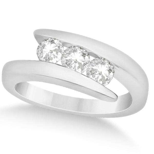 Three Stone Diamond Journey Ring Tension Set 14K White Gold 0.60ctw