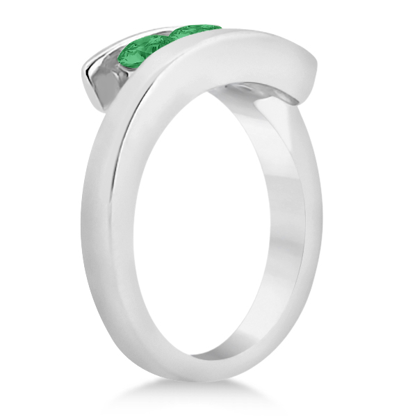 Emerald Three Stone Journey Ring Tension Set in 14K White Gold 0.72ctw