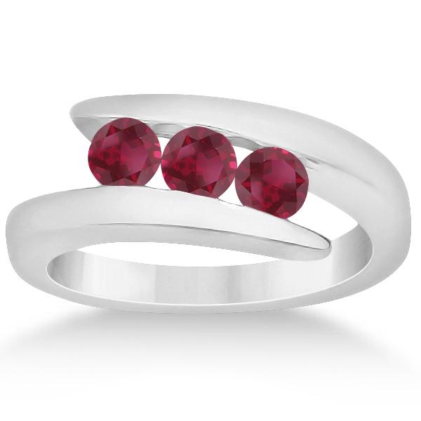 Ruby Three Stone Tension Set Journey Ring 14K White Gold 0.90ctw
