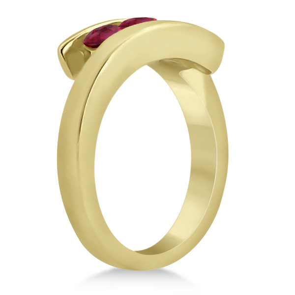 Ruby Three Stone Tension Set Journey Ring 14K Yellow Gold 0.90ctw