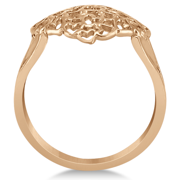Carved Open Heart Shaped Ring Crafted in 14k Rose Gold