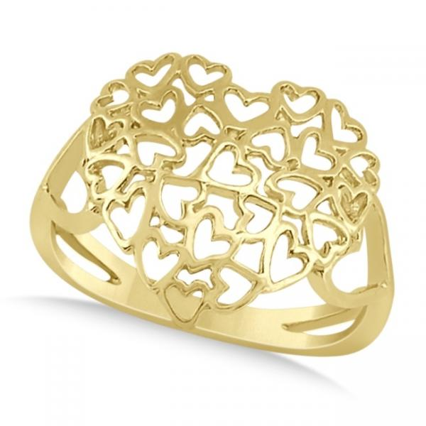 Carved Open Heart Shaped Ring Crafted in 14k Yellow Gold