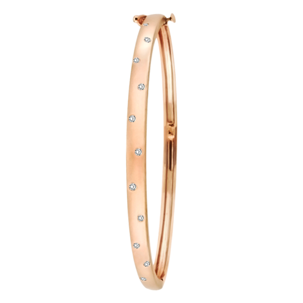 Pave-Set Starlight Diamond Bangle Bracelet in 14k Rose Gold (0.15ctw)