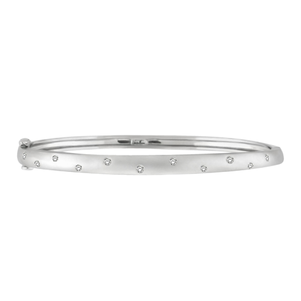 Pave-Set Starlight Diamond Bangle Bracelet in 14k White Gold (0.15ctw)