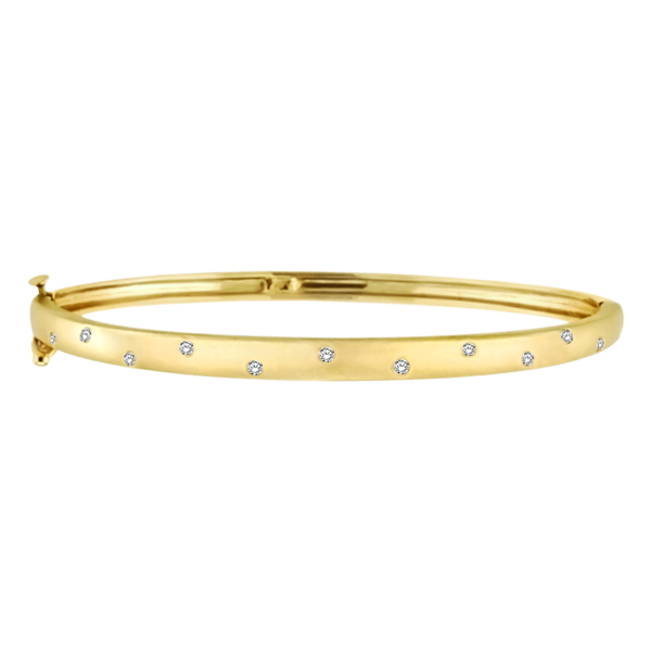 Pave-Set Starlight Diamond Bangle Bracelet in 14k Yellow Gold (0.15ctw)