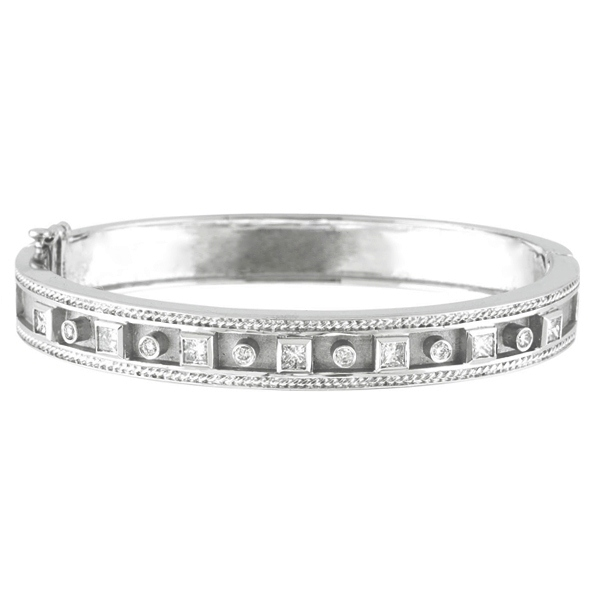 Round & Princess Cut Bezel Set Diamond Bangle 14K White Gold (1.24ct)