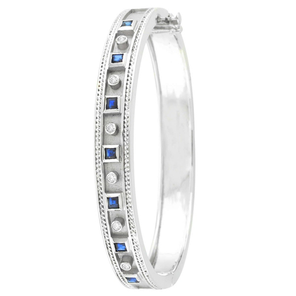 Round Diamond and Princess-Cut Sapphire Bangle 14K White Gold (1.50ct)
