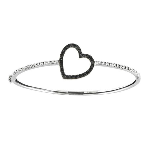 Black & White Diamond Heart Bangle Bracelet 14k White gold (1.00ctw)