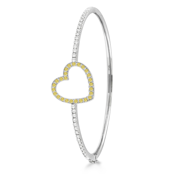 White & Yellow Diamond Heart Bangle Bracelet 14k White gold (1.00ctw)