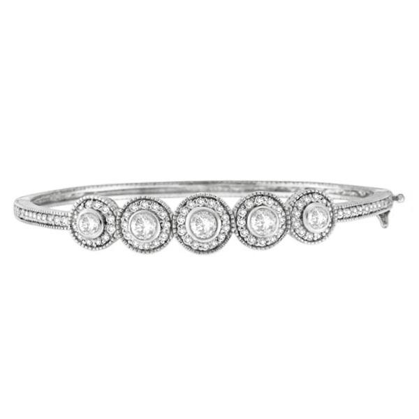 Vintage Style Diamond Bangle Bracelet 14k White Gold (2.57ct)