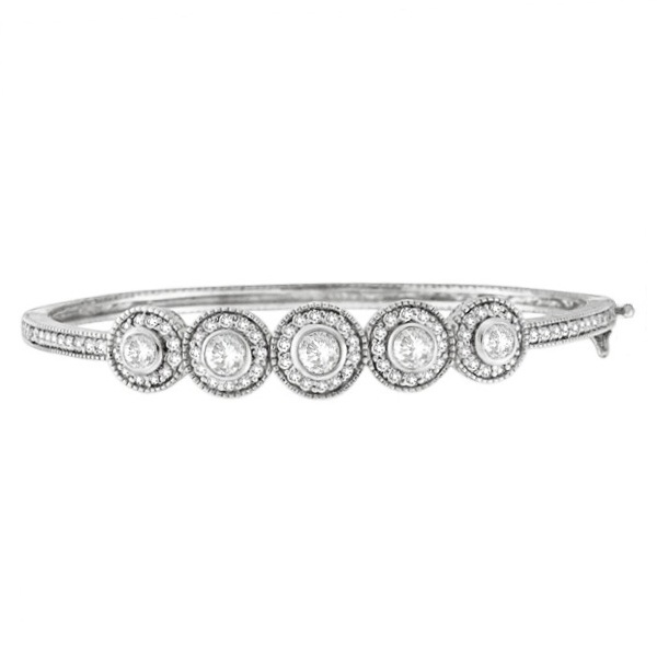 Vintage Style Diamond Bangle Bracelet 18K White Gold (2.57ct)