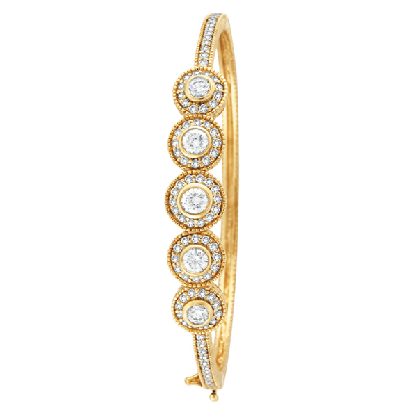 Vintage Style Diamond Bangle Bracelet 14k Yellow Gold (2.57ct)