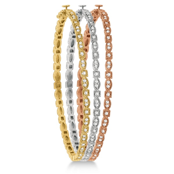 Vintage Style Pave Diamond Bangle Bracelet 14k Yellow Gold (0.55ct)