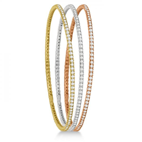 Stackable Diamond Bangle Eternity Bracelet 14k White Gold (1.25ct)