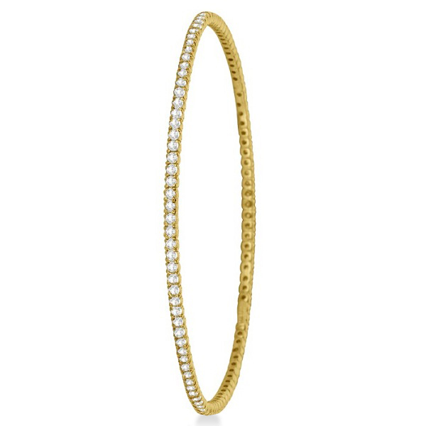 Stackable Diamond Bangle Eternity Bracelet 14k Yellow Gold (1.25ct)